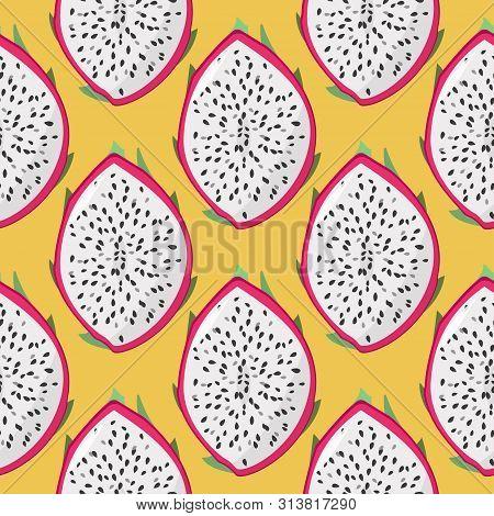 Dragon Fruit Pitaya, Pitahaya Seamless Pattern. Raw Tropical Fruit Summer Background.