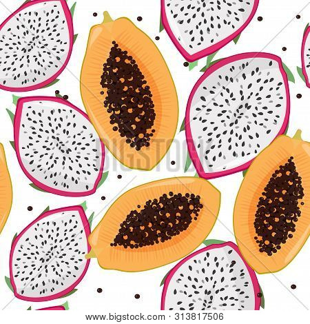 Dragonfruit Pitaya, Pitahaya And Papaya Bright Seamless Pattern. Summer Fresh Fruits Background.