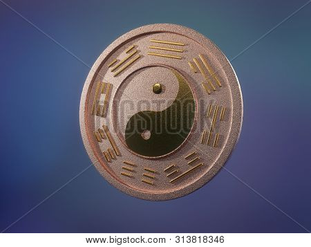 3D render of copper chinese ying-yang coin with golden inlays over bluish background