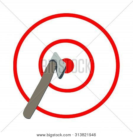Axe In The Target, Red Lines, White Background. Axe Throwing, Lumberjack Sport.