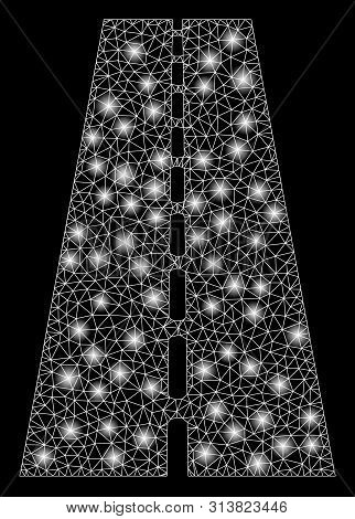 Glossy Mesh Straight Road With Sparkle Effect. Abstract Illuminated Model Of Straight Road Icon. Shi