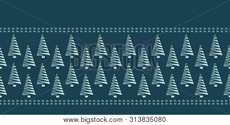 Hand Drawn Stylized Christmas Tree Border Pattern. Geometric Abstract Fir Forest On Green Background