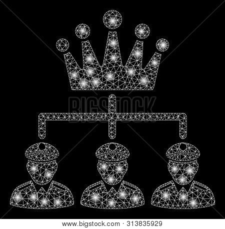 Glowing Mesh Monarchy Structure With Glare Effect. Abstract Illuminated Model Of Monarchy Structure