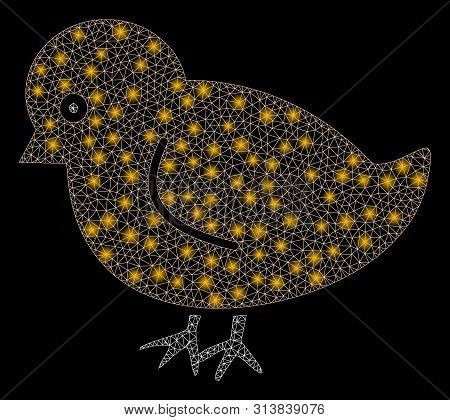 Glowing Mesh Nestling Chick With Glitter Effect. Abstract Illuminated Model Of Nestling Chick Icon.