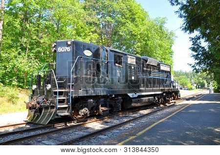 New York State, Usa - Jul. 3, 2010:  Adirondack Scenic Railroad Locomotive At Saranac Lake Station I