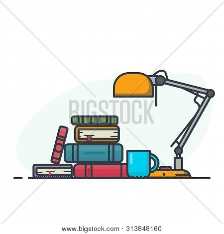 Reading And Learning With Book With Table Lamp. Pile Of Book And Magazines. Flat Style, Thick And Th