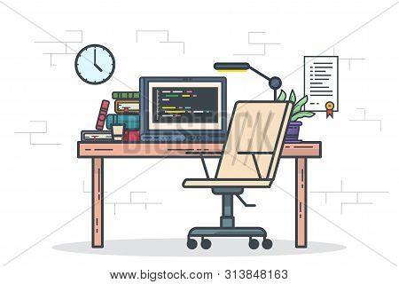 Home Office Freelancer Concept. Designer Or Programmer Workspace Vector Illustration. Programming An