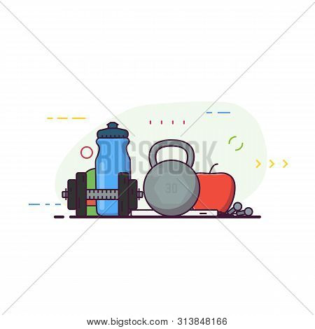 Gym Banner Line Style. Barbell, Water Bottle With Fruit And Phone With Music. Line Style Vector Illu