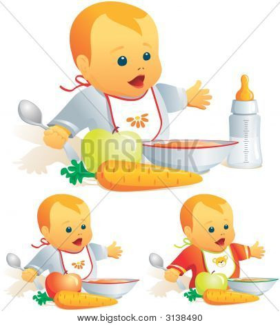 Baby Nutrition, Solid Food, Milk. Illustration
