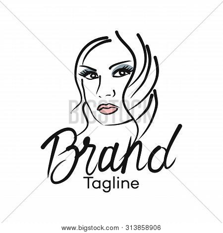 Modern Beautiful Woman Example As A Logo. Vector Illustration.