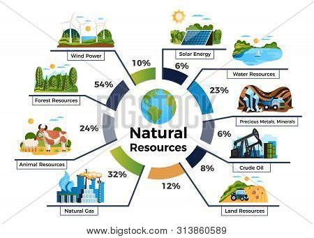 Natural Environmental Resources Infographic Set With Animal And Land Resources Symbols Flat Vector I