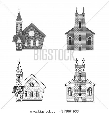 Isolated object of cult and temple logo. Collection of cult and parish stock vector illustration. poster