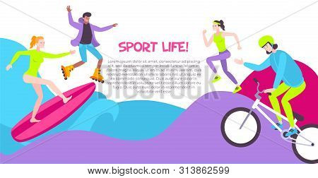 Street Sport Horizontal Banner With People Involved In Rollerskating Running Surfing Riding Bicycle