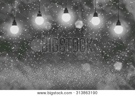 Beautiful Shining Abstract Background Light Bulbs With Sparks Fly Defocused Bokeh - Festal Mockup Te
