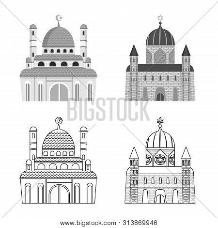 Isolated object of cult and temple icon. Set of cult and parish vector icon for stock. poster