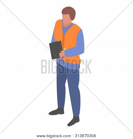 Marine Port Watcher Man Icon. Isometric Of Marine Port Watcher Man Icon For Web Design Isolated On W