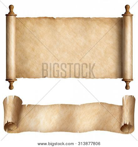 Paper or parchment horizontal scrolls set isolated on white