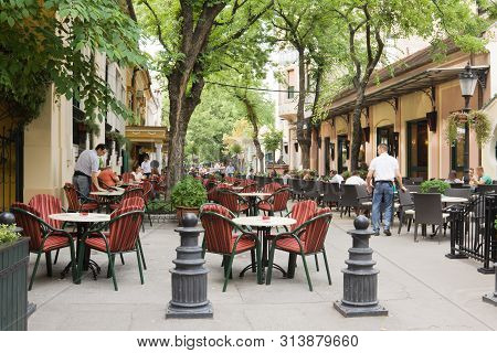 Subotica, Serbia - August 31, 2012: An Open-air Cafe In Subotica. Subotica Is A City In The Autonomo