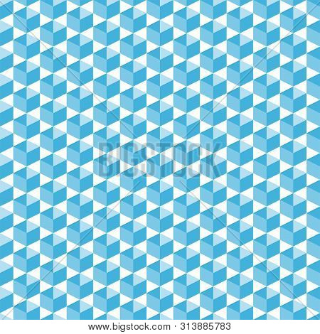 Cubic Isometric Shapes In Blue Halftone Seamless Pattern, Simple Diagonally Arranged Geometric Forms