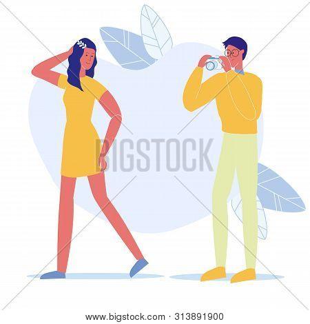 Amateur Photoshoot, Date Vector Flat Illustration. Happy Couple, Photographer And Model Cartoon Char