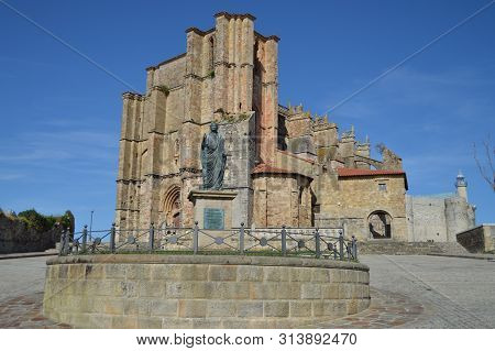 Monument To Emperor Cesar Vespasiano Augusto Founder Of The Colony In Front Of The Church Of Our Lad
