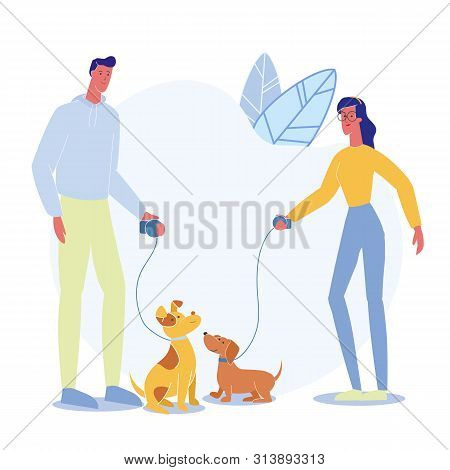 poster of People on Stroll with Pets Vector Illustration. Happy Man and Woman with Puppies on Leash Cartoon Characters. Dog Show, Walking Service. Young Domestic Animal Owners, Dachshund and Pooch Outdoor