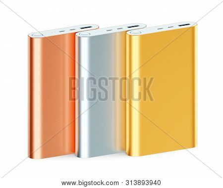 Colorful Power Banks Isolated On White Background