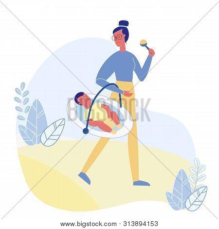 Maternity Leave, Babysitting Vector Illustration. Female Babysitter And Smiling Infant Cartoon Chara