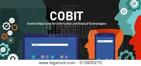 Cobit, Control Objectives For Information And Related Technologies. Concept With Keywords, Letters A