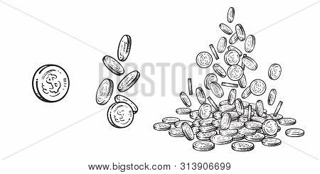 Finance, Money Set. Sketch Of Falling Gold Coins In Different Positions, Pile Of Cash, Stack Of Mone