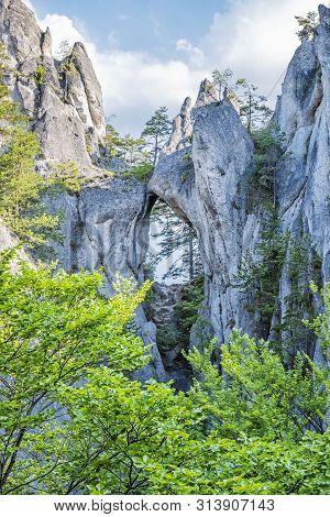 Gothic Gate, Sulov Rocks, Slovak Republic. Seasonal Natural Scene. Hiking Theme.