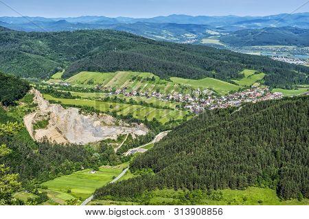 Jablonove Village From Sulov Rocks, Slovak Republic. Travel Destination. Hiking Theme.
