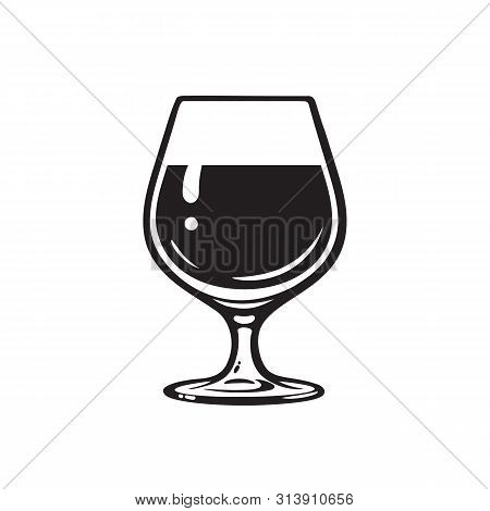 Glass Of Wine, Brandy, Cognac Or Whiskey. Wineglass Icon. Snifter Beer Glass. Vector Illustration On