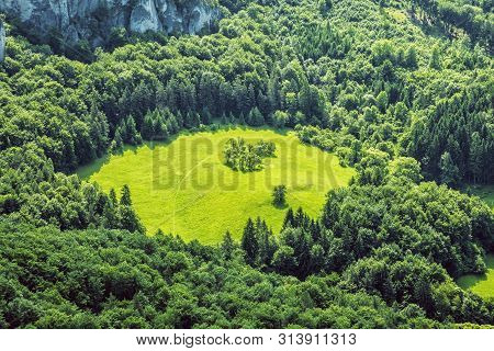 Forest And Meadow, Sulov Rocks, Slovak Republic. Seasonal Natural Scene. Hiking Theme.