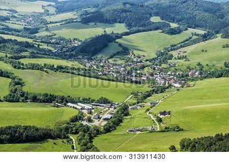 Sulov Village From Sulov Rocks, Slovak Republic. Travel Destination. Hiking Theme.