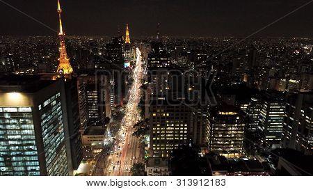 Aerial View Of Paulista Avenue, São Paulo, Brazil. Night Scenery. Downtown Scene.  Landmark Of The C