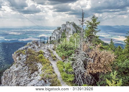 Ostra Peak In Big Fatra And Turiec Basin, Slovak Republic. Seasonal Natural Scene. Travel Destinatio