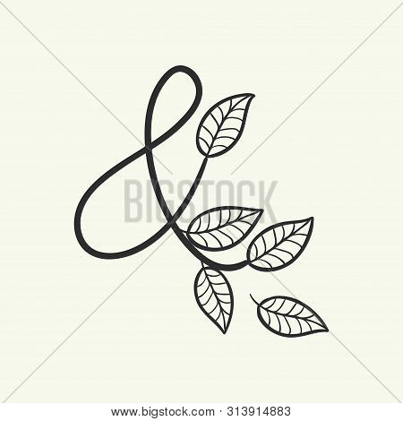 Calligraphy Alphabet. Decorative Handwritten Font. Vector Letter Ampersand Decorated With Leaves, Fl