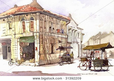 heritage town scene watercolor