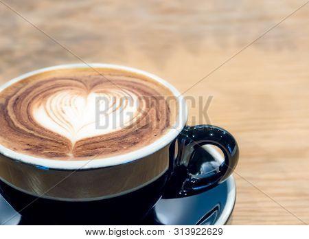 Black Coffee Cup On Wood Table