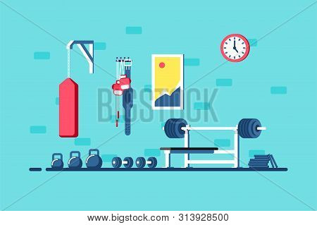 Flat Style Illustration Of Gym Interior. Heavy Barbell, Barbell Rack And Additional Gym Equipment. B