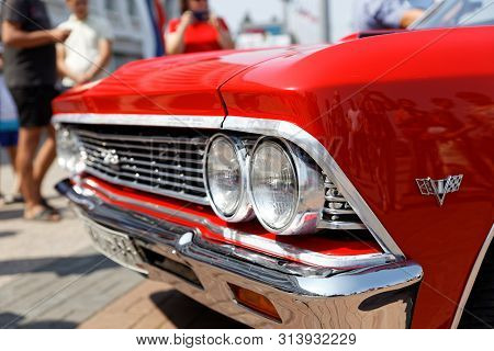Ulyanovsk, Russia - July 27, 2019: Fragment Of Vintage Retro Car Chevrolet Chevelle Malibu At The
