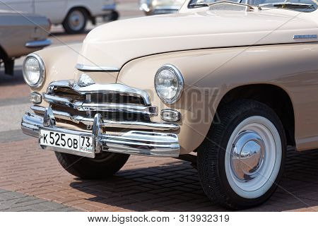 Ulyanovsk, Russia - July 27, 2019: Vintage Retro Car Pobeda At The