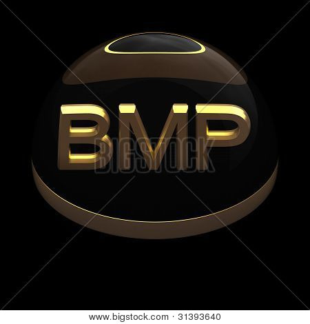 3D Style file format icon over black background - BMP poster