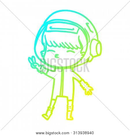 cold gradient line drawing of a cartoon spacegirl making peace sign