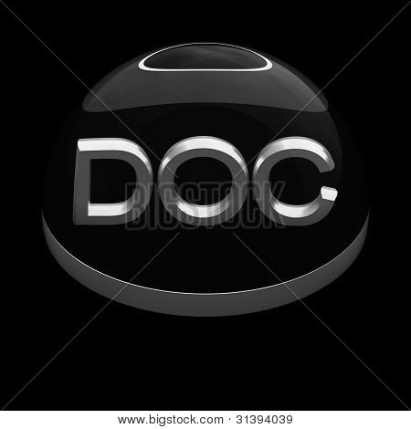 3D Style file format icon over black background - DOC poster