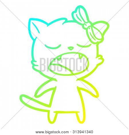 cold gradient line drawing of a cartoon meowing cat poster