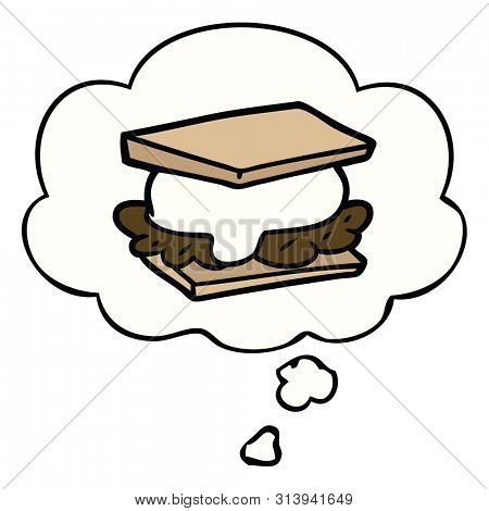 smore cartoon with thought bubble