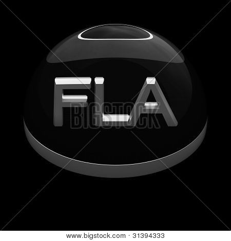 3D Style file format icon over black background - FLA poster