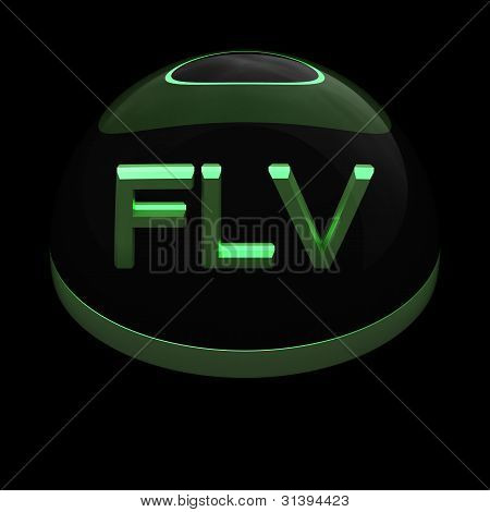 3D Style file format icon over black background - FLV poster
